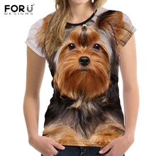 FORUDESIGNS Brand Designer Wome T Shirt Funny 3D Dog Yorkshire Terrier Printed Girl Tshirts Fashion O Neck Short Sleeve Tops Tee