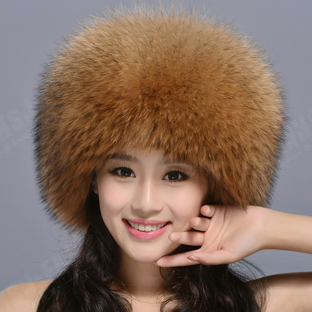 Besty new fashion women real fur fox fur hat winter thick warm natural fur cap with fox tail