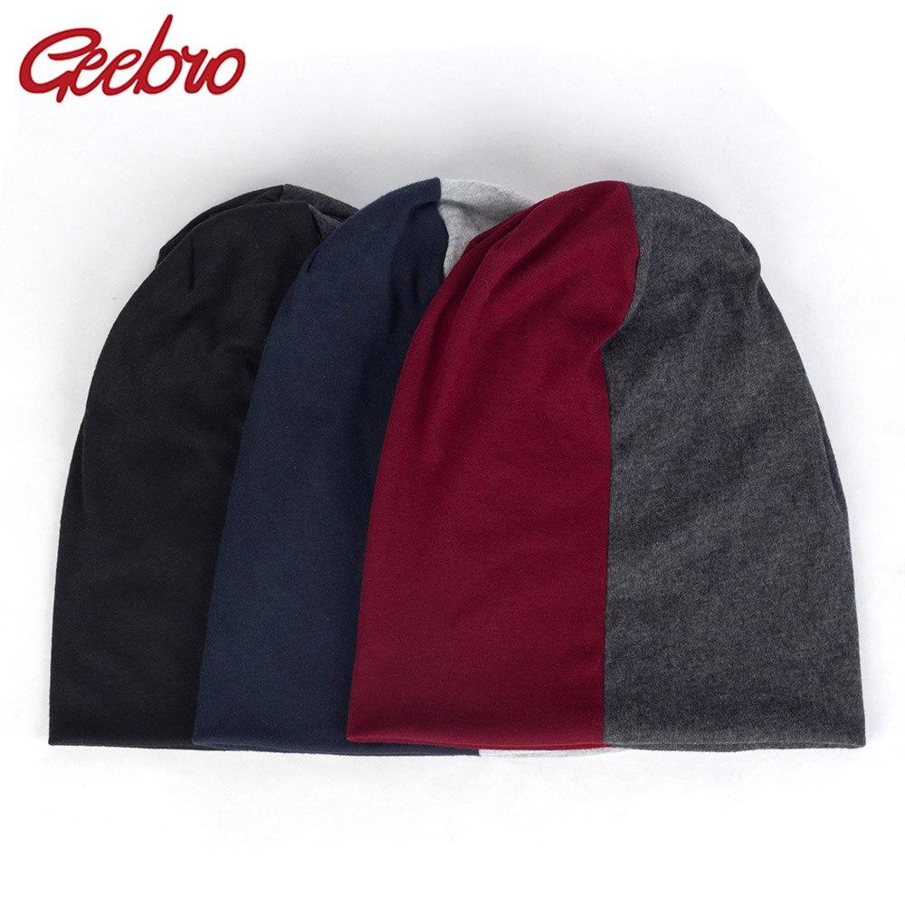 Geebro Women Casual Fashion Splice Double Color Hats Cotton Beanies For Female Man Caps Female Skullies Bonnets Turban Wraps Cap