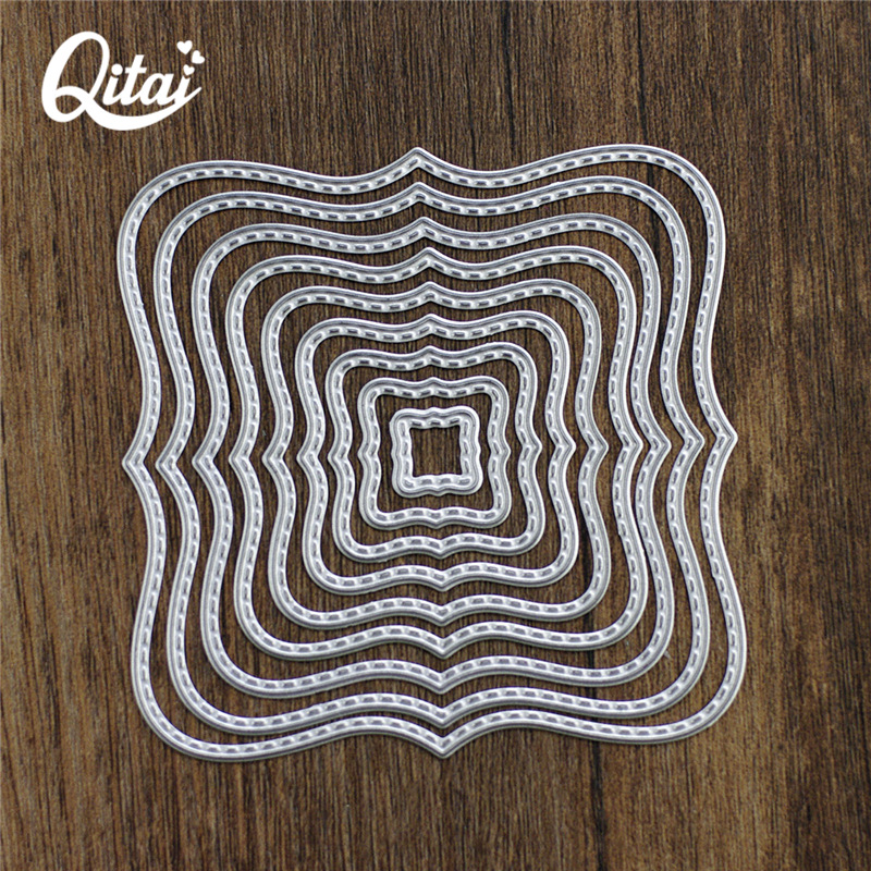 QITAI 9pieces Frames Square Card Making die cutter DIY Scrapbooking for home decoration party Layering Metal Cutting Dies D19