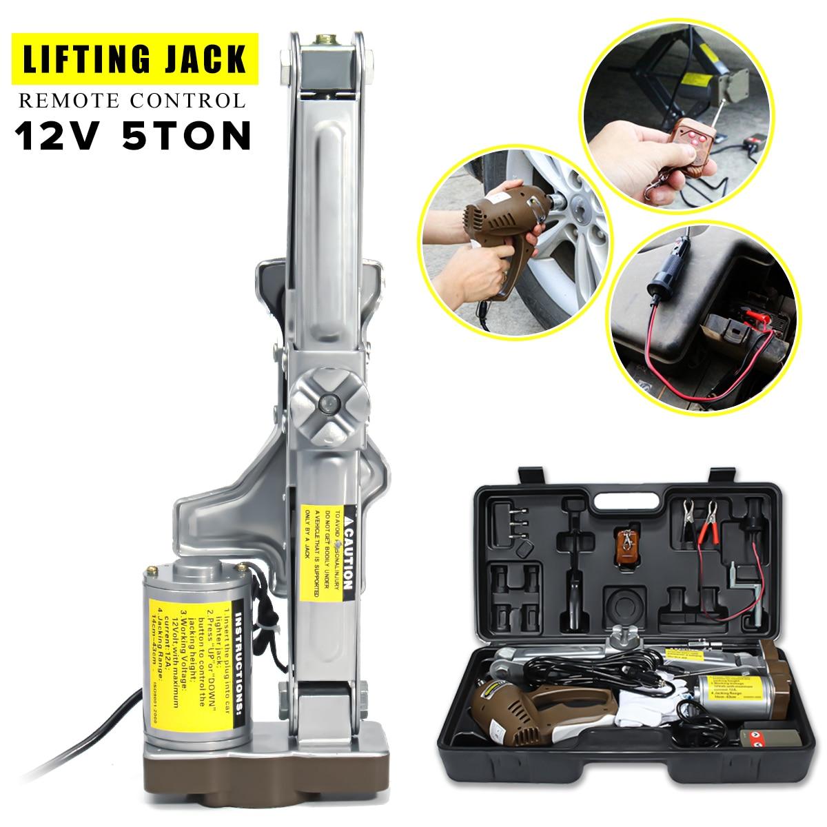 Portable 5 tonnes 12 V électrique ciseaux Jack ascenseur Stand voiture Lifter automobile grue à distance 140mm-430mm Auto réparation outil universel