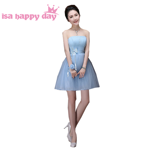 Modest Short Sky Blue Lace Up Back Teenage Womens Strapless Party
