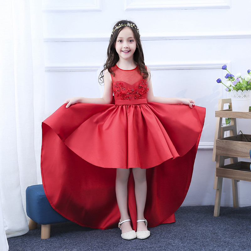 2018 Summer New Baby Kids Red Color Birthday Ceremonies Party Back Bow Tie Princess Prom Dress Children Toddler Piano Host Dress
