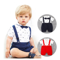 Summer Style Baby Romper Bow Tie Suits Gentleman Romper Baby Boys Clothes Newborn Jumpsuit Ropa Bebes
