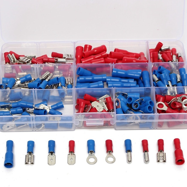 200Pcs HRV HSV HBV Wire Cable Terminals Crimp Connector Spade Set Assorted Electrical Insulated For Auto Industry 22-14AWG