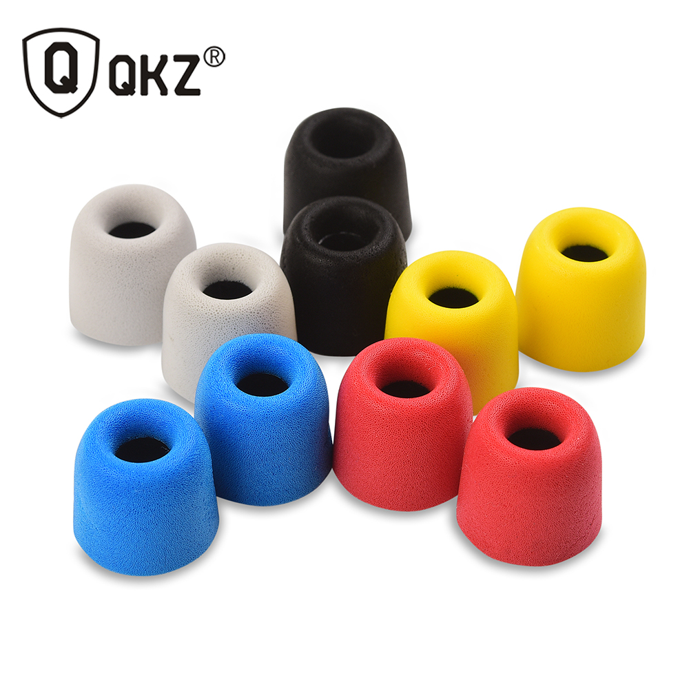 10 pcs QKZ Original 5 Pairs Colors T400 Memory Foam Earphone tips foam tips Ear Pads for all in ear earphone headset headphone ak 4 pairs 8pcs kz noise isolating memory foam c sets 3mm 5mm t100 t400 ear tips for in ear earphone earbud