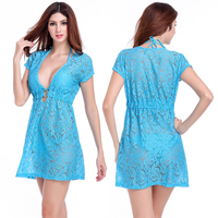 New Arrival Women Sexy Swimsuit Cover Up Summer Fashion Beach Dress Hollow Out Lace Design Sexy