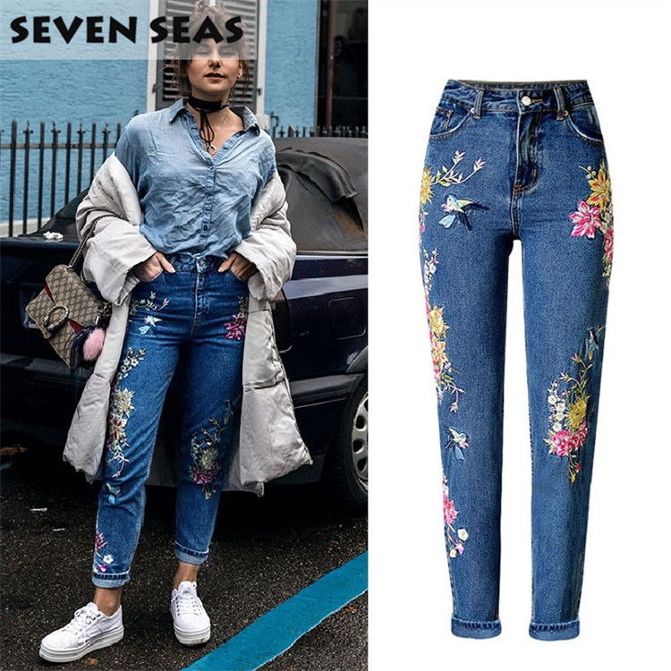 2017 New Fashion 3D Flower Ladies Jeans with Embroidery Mid Waist Casual Loose Straight Jeans Women Plus Size Denim Pants flower embroidery jeans female blue casual pants capris 2017 summer pockets straight pencil jeans women bottom 3329
