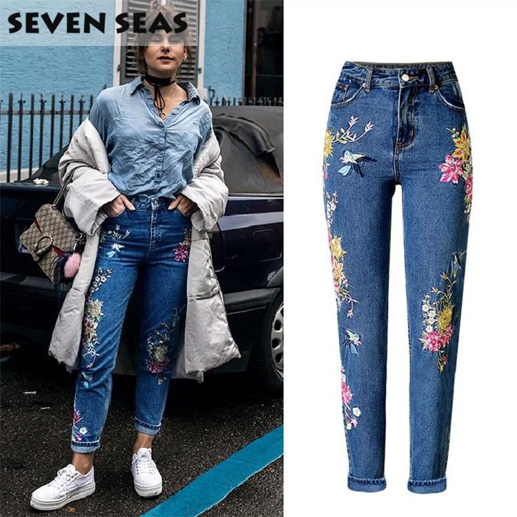 Nové módní 3D květinové dámské džíny s výšivkou uprostřed pasu příležitostné volné rovné džíny ženy plus velikosti džínové kalhoty