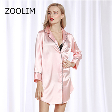 ZOOLIM Women Nightgowns Satin Sleepwear Nightshirts Long Sleeve Silk Casual Loose Night Dress Summer Home Clothing Home Dress women nightgowns satin sleepwear nightshirts half sleeve silk night shirts loose night dress summer nightdress sleepshirts