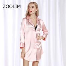ZOOLIM kadınlar gecelikler saten pijama gecelik uzun kollu ipek rahat gevşek gece elbisesi yaz ev giyim ev elbise