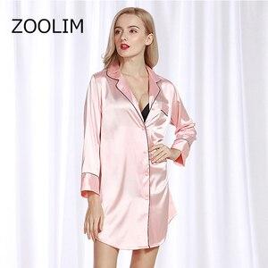 Image 1 - Женские ночные рубашки ZOOLIM, атласная ночная рубашка с длинным рукавом, шелковая Повседневная Свободная ночная рубашка, летняя Домашняя одежда, домашняя одежда
