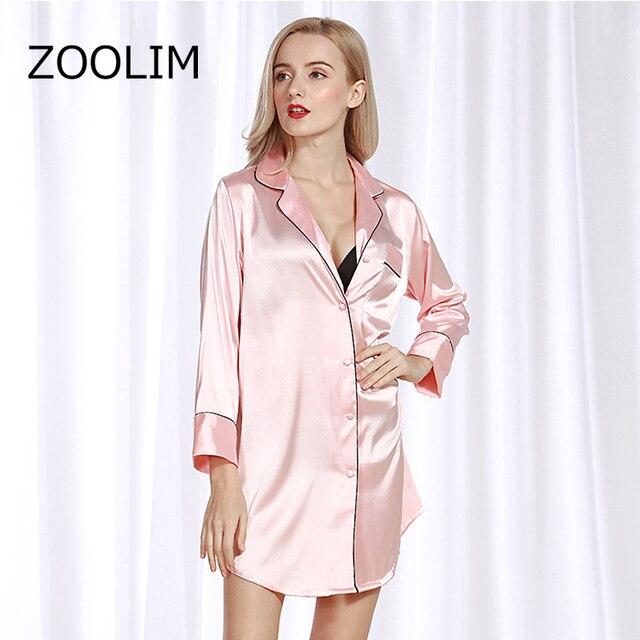 Женские ночные рубашки ZOOLIM, атласная ночная рубашка с длинным рукавом, шелковая Повседневная Свободная ночная рубашка, летняя Домашняя одежда, домашняя одежда