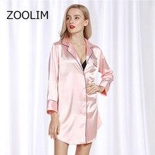 Zoolim 女性ナイトガウンサテンパジャマナイトシャツ長袖シルクカジュアルルースナイトドレス夏ホーム服ホームドレス