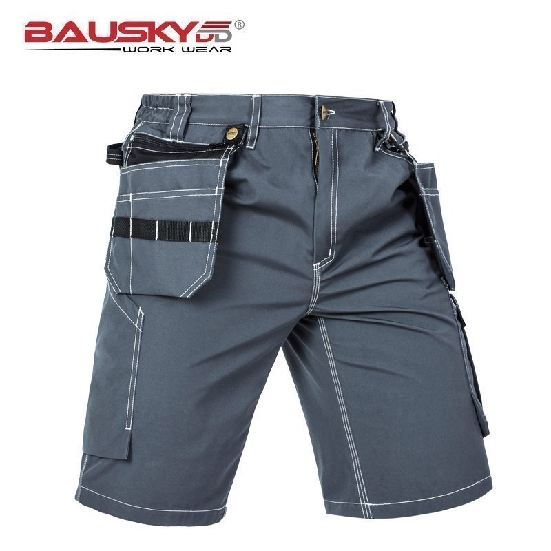 Mens Casual Cargo Work Pants For Repairman Mechanic With Knee Pads Multi Pocket Cotton Polyester Fabric Free Shipping