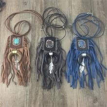 2016 Nuevo Boho Tibet Silver Moon colgante collar Collar encanto de La Borla de cuero de la hoja de metal collar colgante