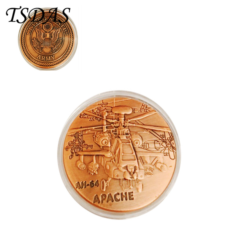 Fancy American AH-64 APACHE Colorful 24K Gold Plated Coin 40*3MM Commemorative Coins Double Side Die Stamping