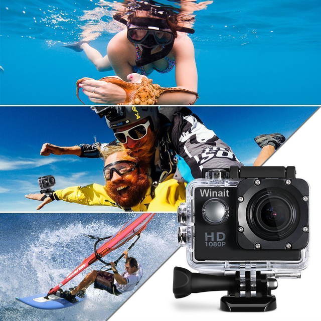 Winait Portable Helmet Action Camera A7 20 HD 1080P Disposable 30M Underwater Surfing Swimming