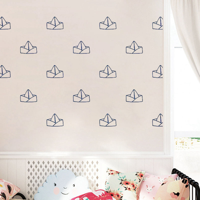 Paper Boat Wall Decals Nautical Nursery Stickers Boy Home Decor Bedroom Removable Waterproof Wallpaper