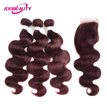 Human Hair Bundles With Closure 99J Color Wine Red Burgund Pre-colored 4x4 Lace Brazilian Body Wave Remy Weave Free Middle Part(China)