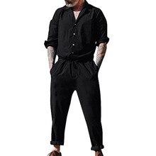 Мужские комбинезоны с длинным рукавом, одноцветные, с карманами, на пуговицах, комбинезоны, рабочие, повседневные, комбинезоны размера плюс