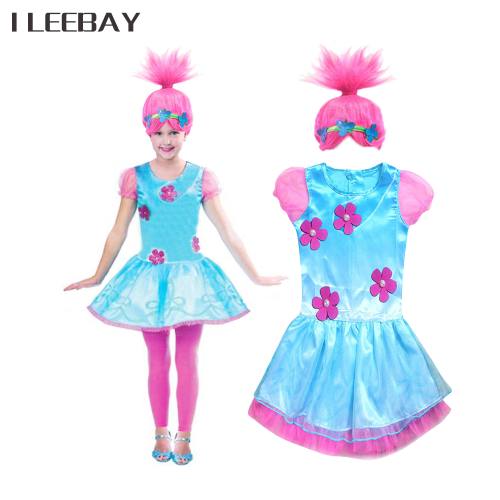 Baby Girl Trolls Princess Dress+Wig Children Cartoon Flower Dress Kids Halloween Poppy Cosplay Clothes Costume Vestidos Infantil children trolls poppy cosplay tutu dress baby girl birthday party dresses princess christmas halloween costume for kids clothes