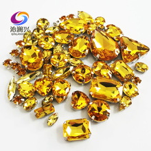 Sell at a loss!! 68pcs/pack Golden yellow mix size top-level glass crystal material sew on rhinestones,diy wedding decoration