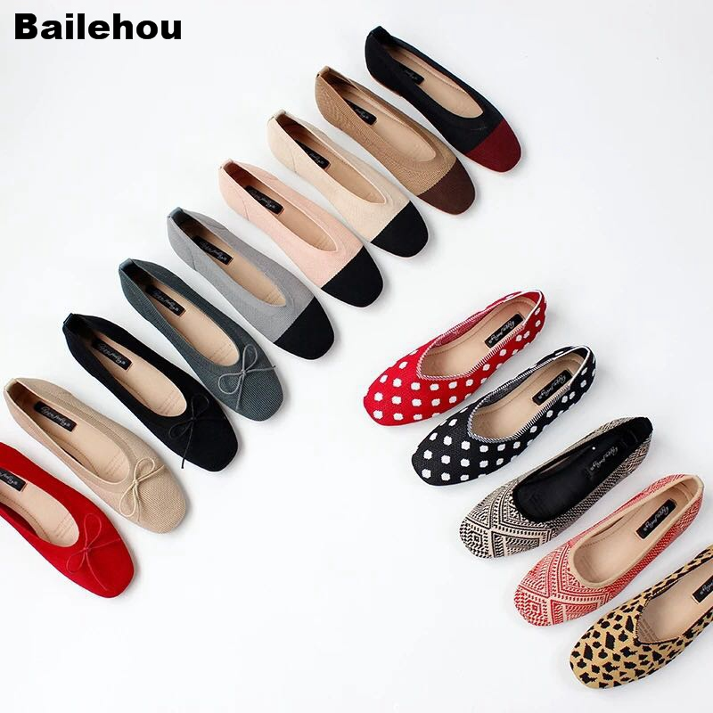 Bailehou 2019 New Spring Women Flats Ballet Shoes Breathable Knitted Square Toe Soft Moccasins Mixed Color Flat Bowtie Ballerina