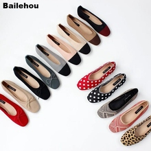 Bailehou 2019 New Spring Women Flats Ballet Shoes Breathable Knitted Square Toe Soft Moccasins Mixed Color Flat Bowtie Ballerina недорого