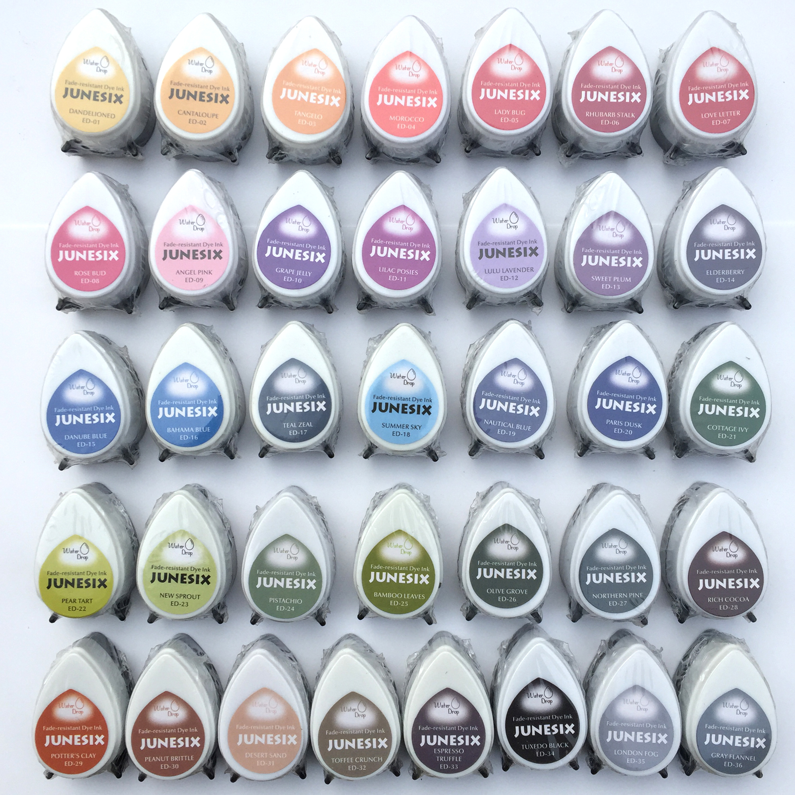 36 Colors For Selection Water Drop Shape Fast Drying Ink Pad Decorating Water Pigment Inkpad (pack Of 12)