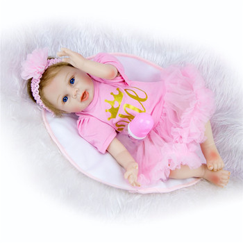 Bebes reborn doll 55cm Baby girl Dolls soft Silicone Boneca Reborn Brinquedos children's day gifts toys bed time plamate