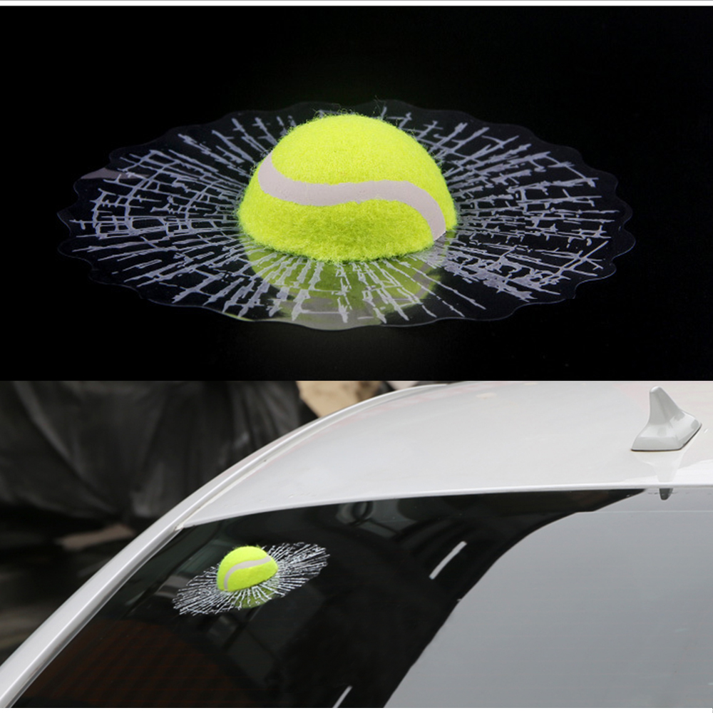 3D Car Stickers Funny Auto Car Styling Ball Hits Car Body Window Sticker Self Adhesive Tennis Decal Accessories
