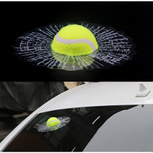 3D Car Stickers Funny Auto Car Styling Ball Hits Car Body Window Sticker Self Adhesive Baseball Tennis Decal Accessories car styling 3d car stickers funny auto ball hits car body window sticker self adhesive baseball tennis decal accessories