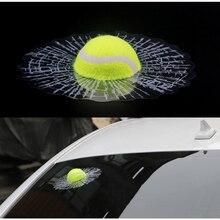 3D 車のステッカーおかしい自動車スタイリングボールヒット車体窓ステッカー自己粘着テニスデカールアクセサリー