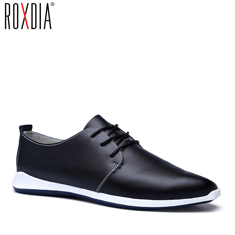 ROXDIA men flats casual shoes genuine leather spring autumn lace up man shoe brown Blue Black Plus size 39-47 RXM038