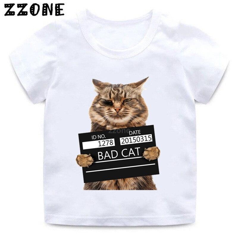 Kids Bad Cat Pattern Funny T Shirt Boys/Girls Summer Short Sleeve Clothes Baby Cute Animal Print Casual T-shirt,ooo2206