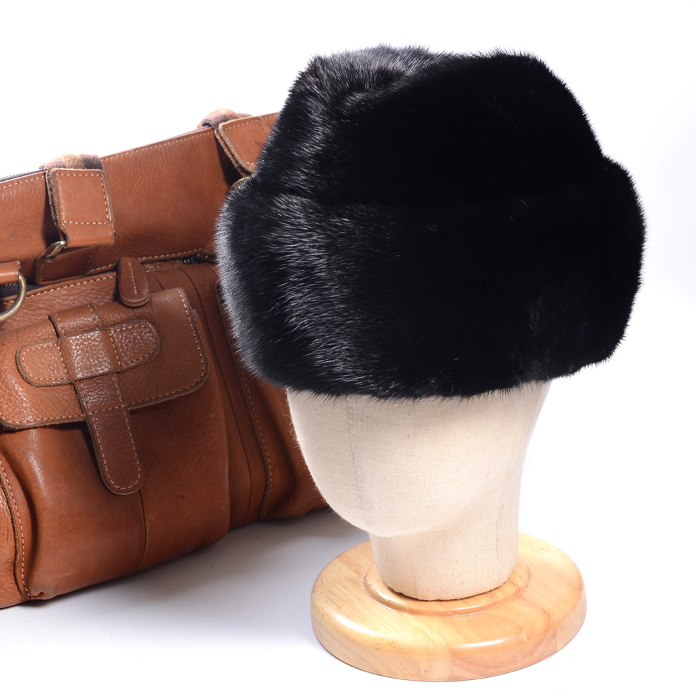New Men's 100% Real Mink Fur Winter Warm Beret Top Hat Fedora hat Outdoor Caps/hats
