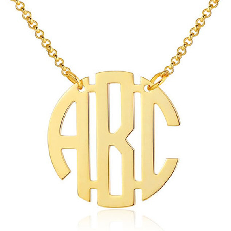 Personalized Name Monogram Necklace Collier Custom Name Choker Necklaces Pendents Stainless Steel Bijoux Custom Monogram Jewelry CLOVER JEWELLERY
