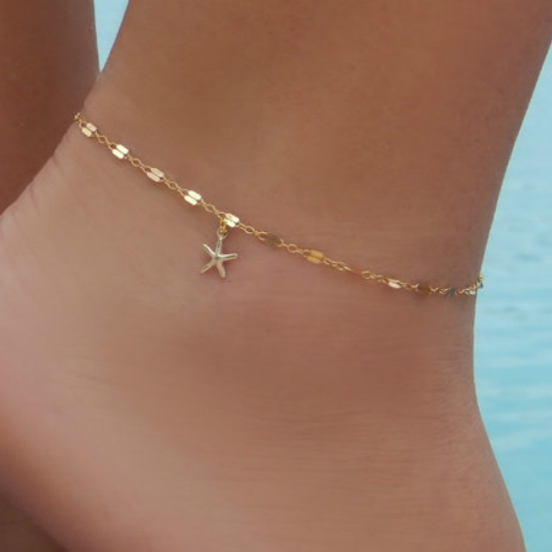 Veigar Gold Anklet Bracelet on The Leg Beach Foot Jewelry