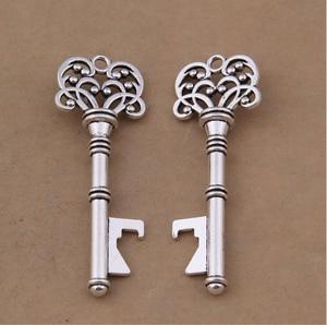 120pcs/lot Wedding Gifts for Guests Antique Bronze Skeleton Key Bottle Opener with Thanks Card Escort Card Vintage Keys