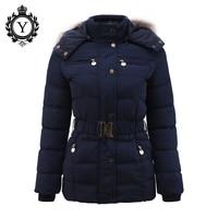 COUTUDI Nieuwe Aankomst Winterjas Vrouwen Slim Dikke Warme Stijlvolle Jacket Jassen Lady Met Bont Capuchon Riem Hoge Kwaliteit Down jassen