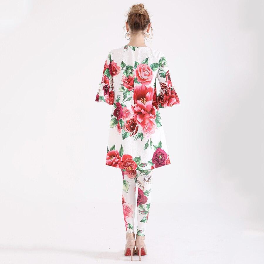 Plus Jacquard 2018 6xl Grand Mode Long Pantalon Taille Ensemble Imprimer Élastique Lady Nouveau Fleurs Seqinyy De D'été Pivoine Pièces Deux Top Costume twaqF6Y