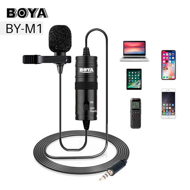 Candid Microphone Boya By-m1 6m Clip-on Lavalier Mini Audio 3.5mm Collar Condenser Lapel Mic For Recording Canon Iphone Dslr Cameras Shrink-Proof Consumer Electronics