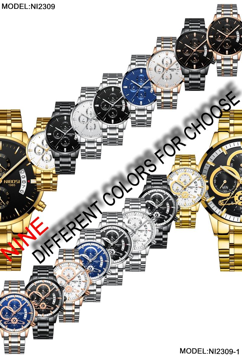 NIBOSI Relogio Masculino Watch Men Gold And Black Mens Watches Top Brand Luxury Sports Watches 2018 Reloj Hombre Marca De Lujo