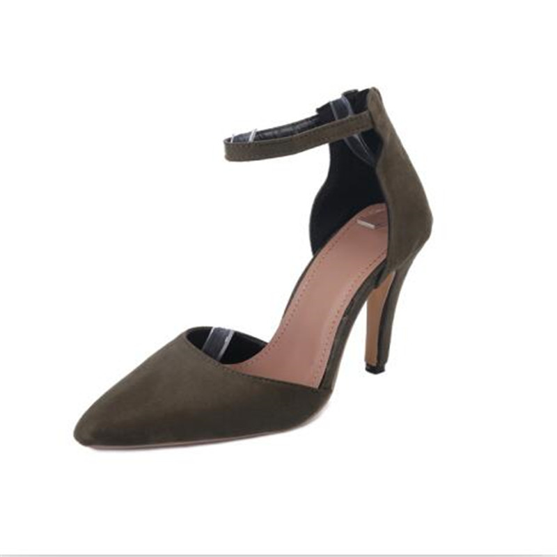 Women Shoes High Heels 2017 Fashion Pointed Toe Ankle Strap Ladies Pumps High Quality Suede Frosted Thin Women High Heels Shoes women flat sandals fashion ladies pointed toe flats shoes womens high quality ankle strap shoes leisure shoes size 34 43 pa00290