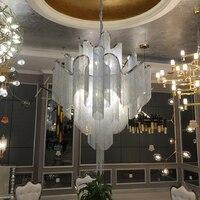 Поток кисточкой проекта легкие алюминиевые цепи Винтаж ручной алюминиевый металлическая люстра лампы для гостиной