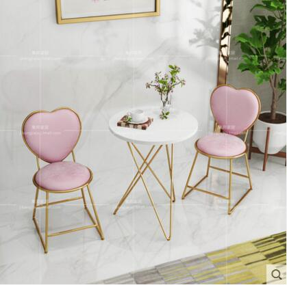 Nordic minimalist gold dresser chair nail stool coffee milk tea leisure chair iron chair back flannel chair