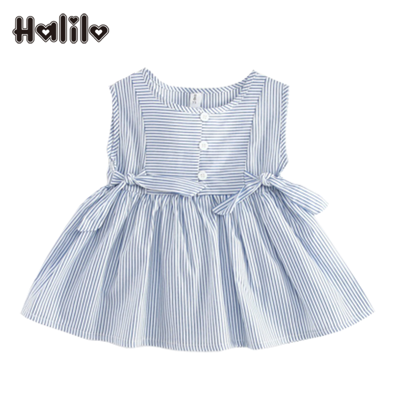 Halilo Baby Dresses Summer O-neck Striped 1st Birthday Summer Baby Girl Dress Infant Clothing Princess Girls Blue Dress With Bow