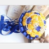 Geel Koningsblauw Bruidsboeketten Met Crystal Bruidsboeketten Bruidsmeisje Kunstmatige Satijnen Rozen Bruid Bloemen