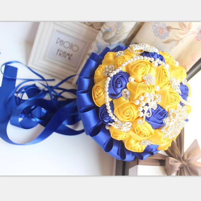 Yellow royal blue wedding bouquets with crystal bridal bouquets yellow royal blue wedding bouquets with crystal bridal bouquets bridesmaid artificial satin roses bride flowers mightylinksfo